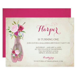 バレエのスリッパ招待状、バレリーナ カード