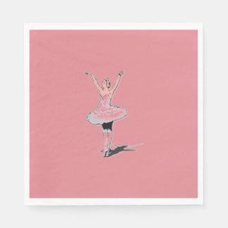 バレエのテーマのピンクのバレリーナの誕生日の紙ナプキン スタンダードランチョンナプキン
