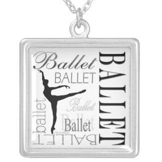 バレエのネックレスの(白い) -アラベスク シルバープレートネックレス