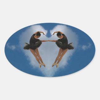 バレエのハート 楕円形シール