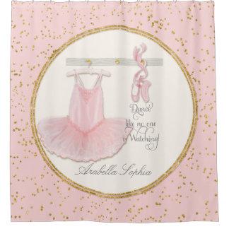 バレエのバレリーナのダンスは小さな女の子の装飾に蹄鉄を打ちます シャワーカーテン