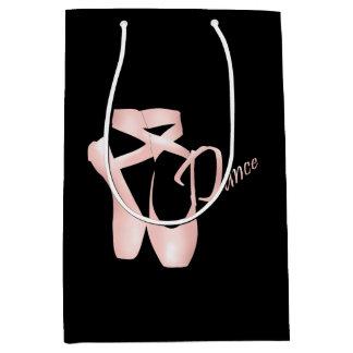 バレエのバレリーナのピンクのPointeの靴のダンスMGB ミディアムペーパーバッグ