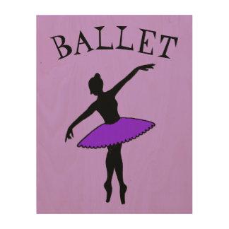 バレエのバレリーナの紫色のチュチュのシルエットのダンスのギフト ウッドウォールアート