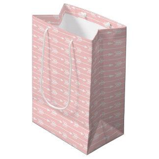 バレエのピンクの矢パターン ミディアムペーパーバッグ