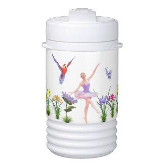 バレエのファンタジー、花、オウム、蝶 ドリンククーラー