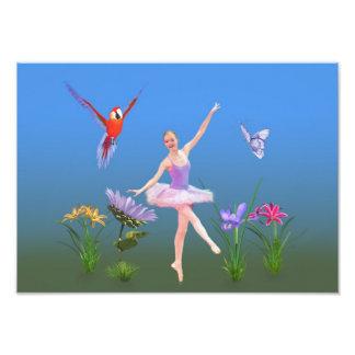 バレエのファンタジー、花、オウム、蝶 フォトプリント