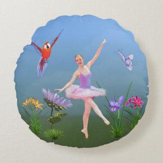 バレエのファンタジー、花、オウム、蝶 ラウンドクッション