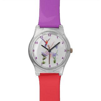 バレエのファンタジー、花、オウム、蝶 腕時計