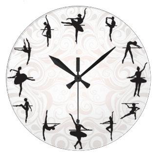 バレエの学校のバレリーナのダンスの柱時計 クロック