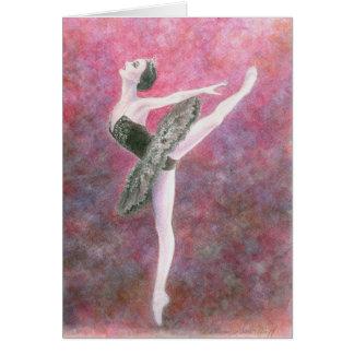 バレエの挨拶状-黒鳥 カード