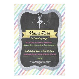 バレエの虹の銀のグリッターの誕生日の招待 カード