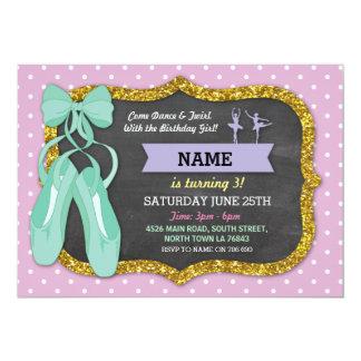 バレエの誕生会のチュチュのバレリーナのミントの招待 カード