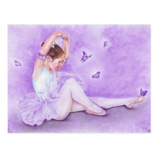 バレエのde papillonのバレリーナの郵便はがき ポストカード