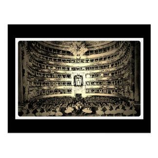 バレエのScala旧式なミラノの白黒写真 はがき