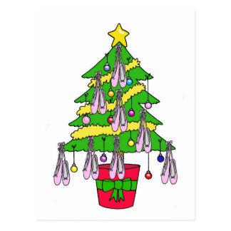 バレエシューズによって飾られるクリスマスツリー ポストカード