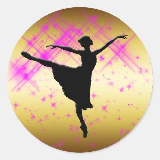 バレエダンサーのシルエット ラウンドシール