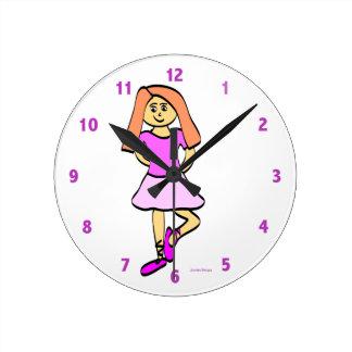 バレエダンサーの時計 ラウンド壁時計