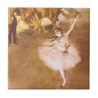 バレエダンサーは星の印象派の絵画のガスを抜きます 正方形タイル小