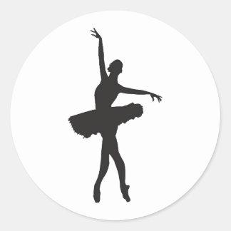 バレエダンサー(バレリーナのシルエット) ~.jpg ラウンドシール