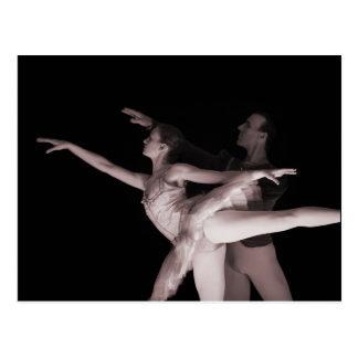 バレエ-ダンス2つと組みます-赤 ポストカード
