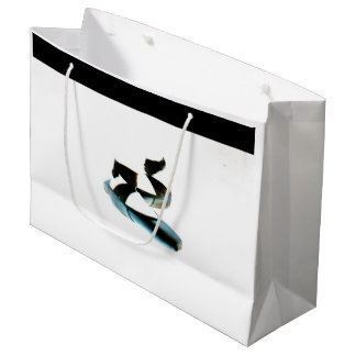 バレエPointeはギフトバッグに蹄鉄を打ちます(黒及び白) ラージペーパーバッグ