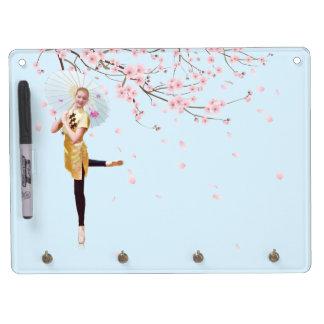 バレリーナおよび桜のホワイトボード キーホルダーフック付きホワイトボード