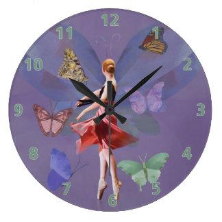 バレリーナおよび蝶 ラージ壁時計