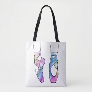 バレリーナのためのかわいい水彩画の踊りのバレエシューズ トートバッグ
