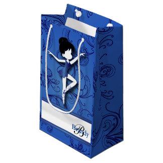 バレリーナのダンサーの女の子 のバレエ の青  DIYの文字 スモールペーパーバッグ
