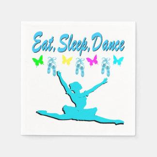 バレリーナのデザインを食べて下さい、眠らせて下さい、踊って下さい スタンダードカクテルナプキン