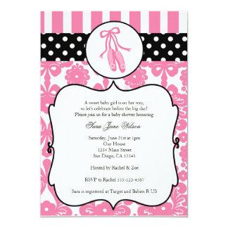 バレリーナのバレエのベビーシャワー招待状-ピンク カード