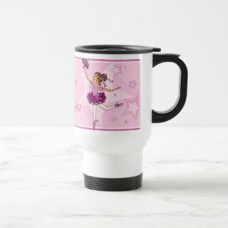 バレリーナのピンクのとび色の髪の女の子のバレエのクラスのマグ トラベルマグ