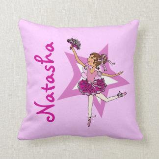 バレリーナのピンク-女の子の名前をカスタムするの枕 クッション