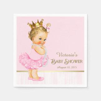 バレリーナのプリンセスのピンクの金ゴールドのベビーシャワー スタンダードカクテルナプキン