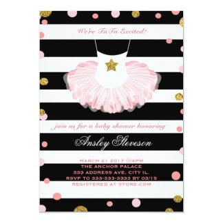 バレリーナのベビーシャワーの招待、チュチュの女の子 12.7 X 17.8 インビテーションカード