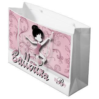 バレリーナの人形|のピンクの電気石|は個人化なります ラージペーパーバッグ