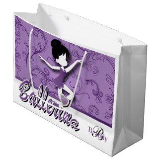 バレリーナの人形|の紫色の紫色|は個人化なります ラージペーパーバッグ