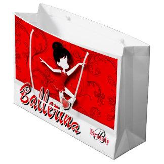 バレリーナの人形|深紅の|は個人化なります ラージペーパーバッグ