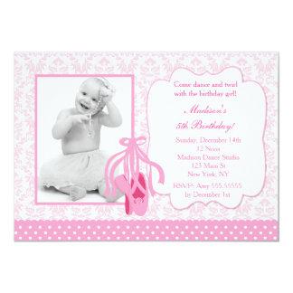 バレリーナの写真の誕生日の招待状 カード