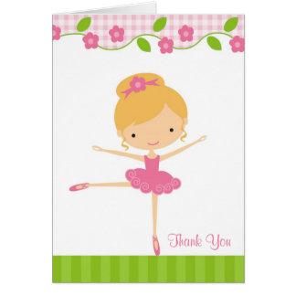 バレリーナの女の子のサンキューカード ノートカード