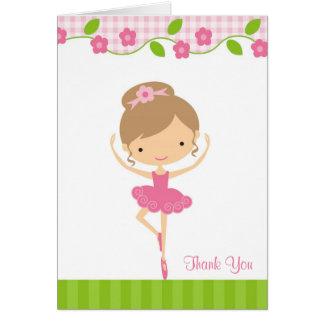 バレリーナの女の子のサンキューカード カード