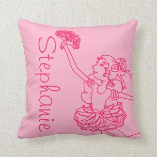 バレリーナの女の子の赤いピンクの一流の孫娘の枕 クッション