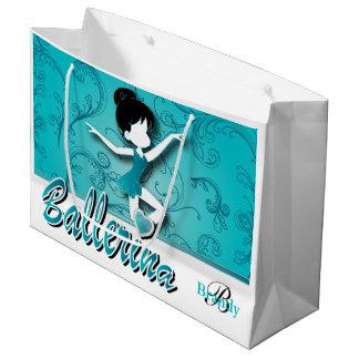 バレリーナの女の子|の青緑|は個人化なります ラージペーパーバッグ