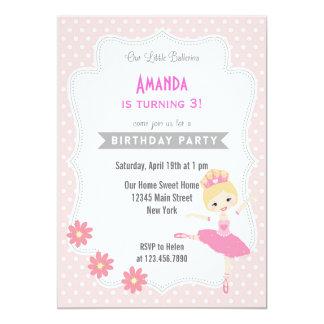 バレリーナの誕生日の招待状の甘いピンク 12.7 X 17.8 インビテーションカード