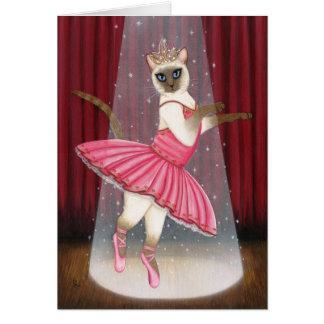 バレリーナ猫チョコレートポイントシャムの挨拶車 カード