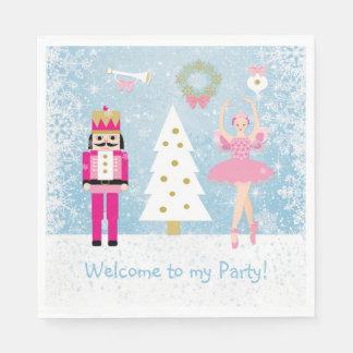 バレリーナ、くるみ割りおよび雪片の子供のパーティー スタンダードランチョンナプキン
