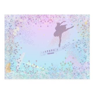 バレリーナ、音楽、猫、女の子のための馬のファンタジー ポストカード