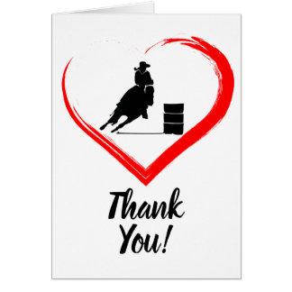 バレルの競走馬および赤いハートは感謝していしています カード