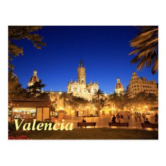 バレンシア: 夜までに広場Ayuntamiento ポストカード