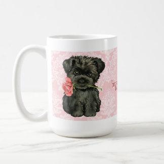 バレンタインのばら色のアーフェンピンシャー コーヒーマグカップ